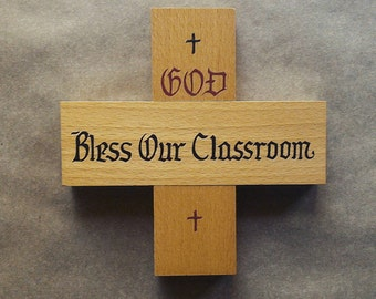 Vintage Back to School Decor Wooden Cross God Bless Our Classroom Made in West Germany Sunday School Home Schooling Religious Wall Decor