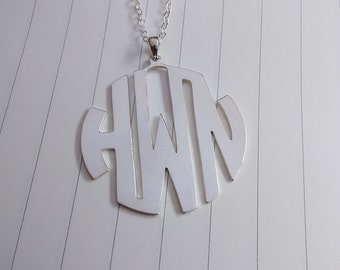 """Personalized Monogram Necklace,Monogrammed Gifts,1.5"""" inch Silver Monogram Necklace,3 Initial Monogram Necklace"""