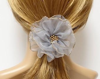 Tiny Mesh Petal Beaded Flower Hair Elastic Ponytail Holder Hair Accessory for Women