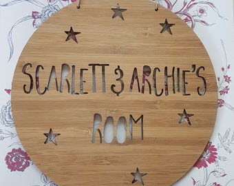 Personalised Wooden Wall / Door Hanging - Stars 14cm or 19.5cm-wall hanging-wall art-wooden sign-custom-kids gift-baby gift-lasercut-bedroom