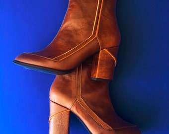 Leather Boots / Bootie / Ankle Boot / Women Boots / Brown Leather / seventies /  Hand Made in Mexico - Mina by Cris Dominguez
