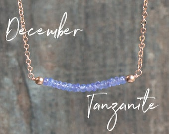 Tanzanite Necklace, Birthday Gifts for Women, Gemstone Necklace, Gift for Her, Minimalist Jewelry, Bar Necklace, Dainty, December Birthstone