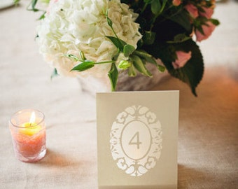 Oval Cameo Wedding Table Number Luminaries, Vintage Table Numbers, Wedding Table Markers,Table Tents / Table Signs / Wedding Sign