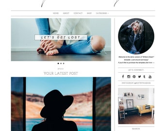 "Responsive Wordpress Theme ""Writers Dream"" //  Photography Slider Instant Digital Download Premade Blog Theme Design"