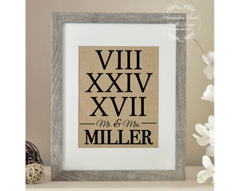 Roman Numeral Gift, Wedding Gift, Bridal Shower Gift, Roman Numeral Sign, First Anniversary, Best Friend Wedding Gift, Christmas Gift
