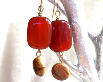 Red Earrings, natural stone agate earrings jasper beaded earrings gold dangle earrings drop earrings bohemian jewelry gift for her for mom