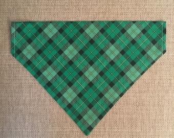 Green Plaid Bandana/St. Patrick's Day Plaid/Over the Collar Bandana