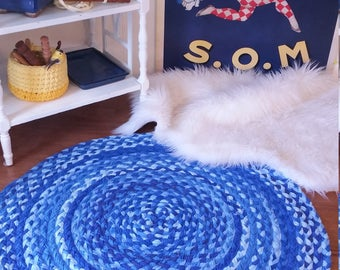 """30"""" royal blue braided rug made from cotton shabby chic style"""