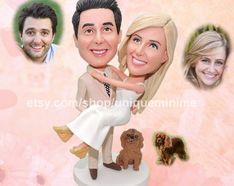 Valentine's Day Gift - Wedding Gift for Couple,First Anniversary Gift - Engagement Gift - Personalized Couple Gift - Custom Bobblehead dolls