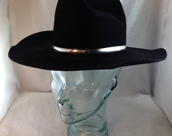 Vintage Western Express Black Cowboy Hat with 'Liquid Silver' Hat Band Size 6 7/8    01657