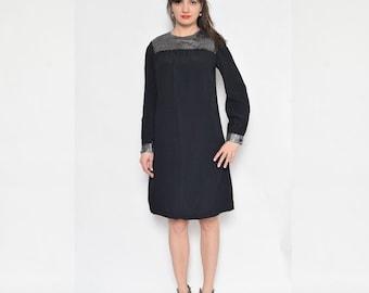 SALE!___Vintage 80's Black Shift Dress / Long Sleeve Dress / Black Metallic Dress - Size Small