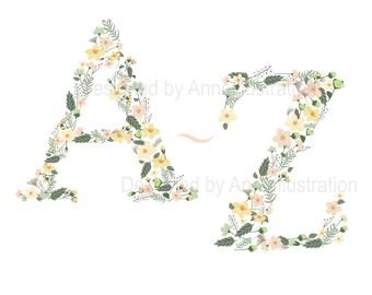 Floral Alphabet Clipart,Letters Clipart,Flowers Clipart,Spring Clipart,Vector,Instant download Illustration_AP4