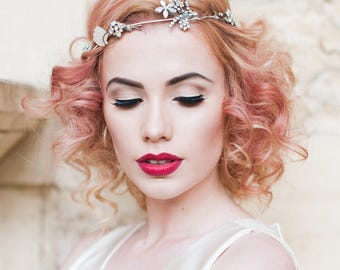 Hair Vine with vintage diamante & mother of pearl ~ Art Deco 1920's Glamour ~ Festival BoHo Wedding ~ Hair Decoration ~ Alternative Bridal