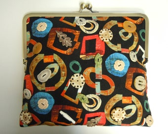 Abstract Print Black Purse With Button Embellishment