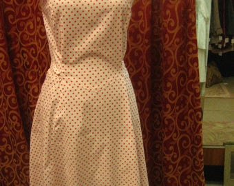 "1940's, 32"" bust, red dots on white cotton background, sun dress"