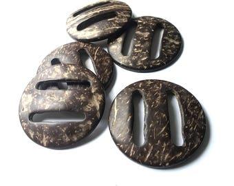 5 Coconut Wood Belt Buckle - Round belt or bag buckle 50mm