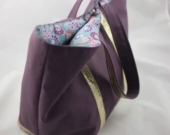 Bag plum canvas with gold sequins - Purpledrop