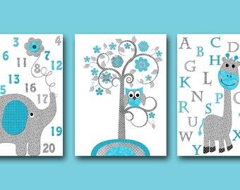Gray turquoise Elephant Nursery Giraffe Nursery Baby Room Decor Baby Nursery Decor Baby Boy Nursery Kids Wall Art Kids Art set of 3