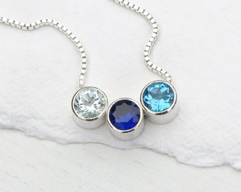 Personalised Birthstone Necklace in Sterling Silver - Handmade in the UK