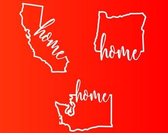 Home State Decals, California, Oregon, Washington