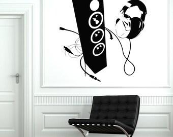 Wall Vinyl Decal Music Headphones Head Phones Speakers Decor 2077di