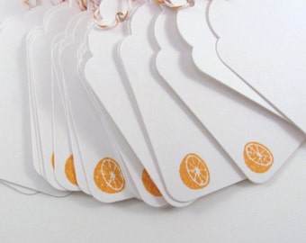 Orange Half Stamped White Gift Tags with Orange and White Bakers Twine Citrus Tag Mason Jar Tag Sangria Tag