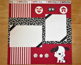 Dog Scrapbook Page - Dog Scrapbook Layout - 12 x 12 Scrapbook - Dalmation - Terrier - Firehouse Dog - I Love My Dog - Puppy - Dog Lover Gift
