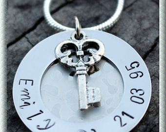 18th or 21st Key Personalized Hand Stamped Necklace