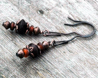 Antiqued Copper Beaded Earrings, Wood African Beads, Natural Horn Beads, Brown Tones, Hand Hammered and Shaped Earring Wires, Casual Style