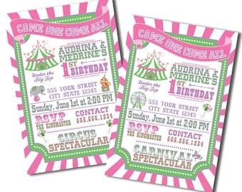 Vintage Circus Carnival Birthday Invitations
