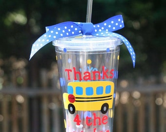Personalized school bus driver gift - 16oz Insulated tumbler with School bus and polka dots