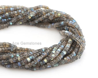 Labradorite Smooth Heishi Beads Semiprecious Gemstone Beads A+ Grade, 4-5mm, 35 cm Strand, Supplies Beads
