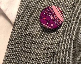 Pink and Purple Buttonless Lapel Button