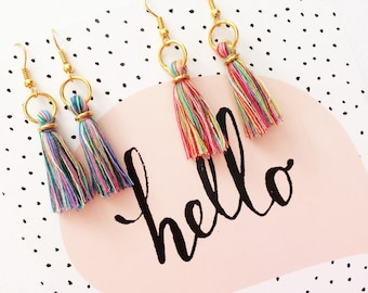 Little rainbow tassel earrings, cotton tassel dangly earrings, tassel jewellery, rainbow jewellery, multi coloured tassels, gifts for her