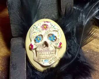 Gothic handpainted Muerto Sugar Skull Mexican Colourful flowers Lolita Cosplay  Muerto Day of The dead Brooch or Hatpin Handmade