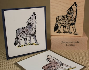 HOWLING WOLF-Wood Mounted Rubber Stamp (mcrs 24-21)