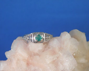 0.17 ct. Round Columbian Emerald Ring 1920's Style Filigree Sterling Silver