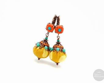 Textile earrings mustard yellow, bright orange clay