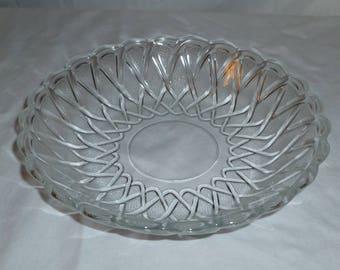 vintage pretzel glass bowl