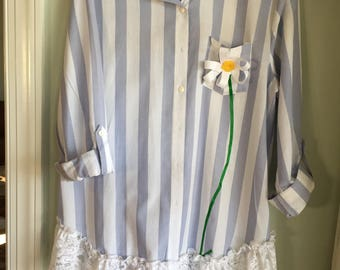 Blue stripped Daisy shirt/tunic, Altered Wearable Art, Unique ladies wear, Up-cycled, OAAK, Embellished
