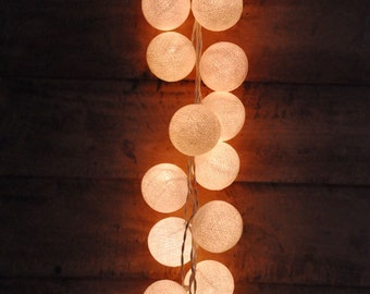 35 Bulbs Retro White cotton ball string lights for Patio,Christmas,Party and Decoration