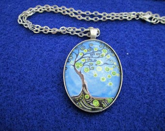 Pretty Blue Green FANTASY TREE Cabochon PENDANT Necklace