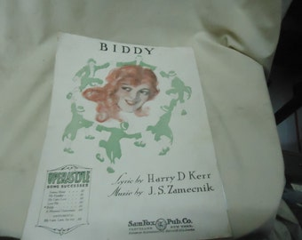 Vintage 1920 Biddy Sheet Music by SamFox Pub Co., collectable