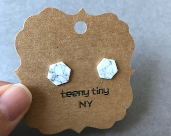 White Marble Hexagon Stud Earrings - Sterling Silver