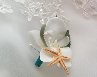 Wedding Natural Touch White Phalaenopsis Orchid with Starfish Boutonniere silk Beach wedding boutonniere