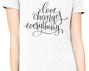 Austin Ink Apparel Slim Fit Love Changes Everything Soft Triblend Short-Sleeve T-Shirt