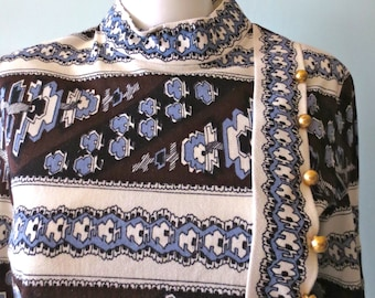 Mod 1960s R & K Knits  Brown and Blue Abstract Print  Dress