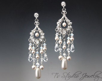 """Long Bridal Pearl Chandelier Earrings with Crystals & Rhinestones - Available in Silver, Gold or Rose Gold - """"Phoebe"""""""