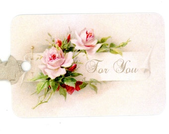 Rose Gift Tags , For You Tags , Vintage Tags , Simple Elegance