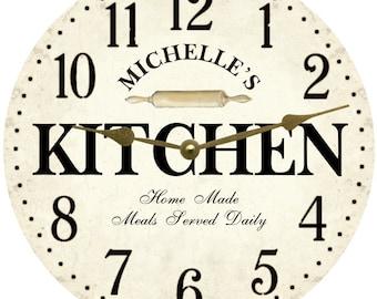 Personalized Kitchen Wall Clock  White Kitchen Clock